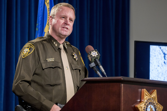 Undersheriff Kevin McMahill discusses details regarding the shooting of Paul Palmer, an armed man shot by a police officer in Jean, at the Metropolitan Police Department on Jan. 24, 2017. (Elizabe ...
