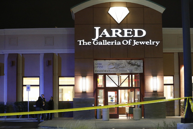 The scene of a robbery at Jared The Galleria of Jewelry located at 1071 W Sunset Rd. in Henderson. According to Henderson Police, a female employee was shot and later died due to her injuries. (Da ...