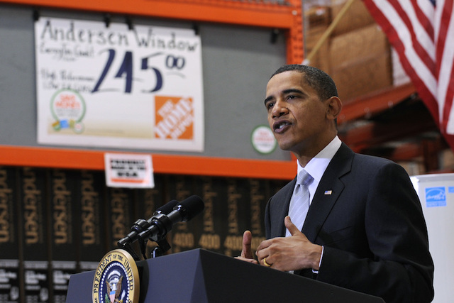 In this Dec. 15, 2009, file photo, President Barack Obama speaks during a visit to Home Depot in Alexandria, Va. The last major economic report card for Obama arrives Friday, Jan. 6, 2017, with th ...