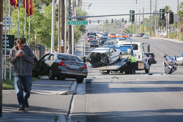 Traffic is snarled in June on northbound Jones Boulevard near Flamingo Road after a car crash. Brett Le Blanc/View Follow @bleblancphoto