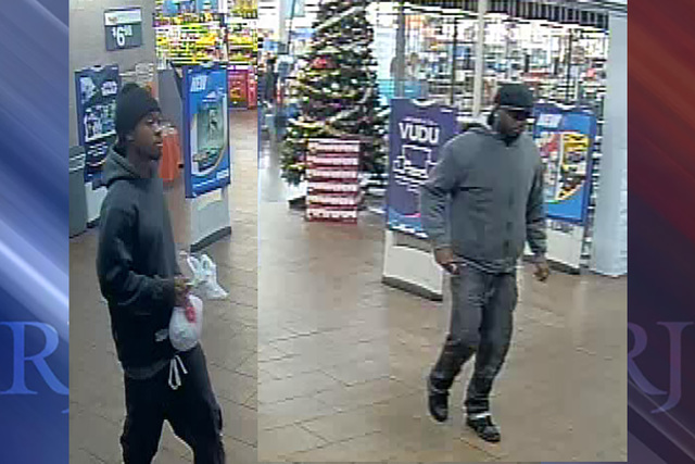 Las Vegas police are looking two black male suspects connected to a robbery and a kidnapping on Dec. 17, 2016. (Las Vegas Metropolitan Police Department)