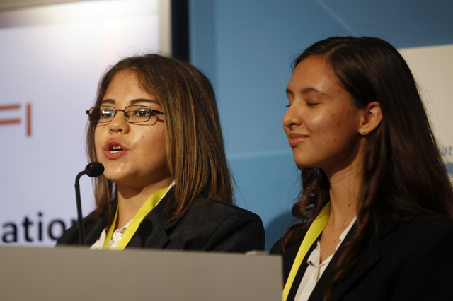 Guadalupe Torres and Clarissa Neff deliver their pitch to judges at the Consumer Technology Association Student Business Pitch Competition on Sunday, Jan. 8, 2016, at the Consumer Electronics Show ...