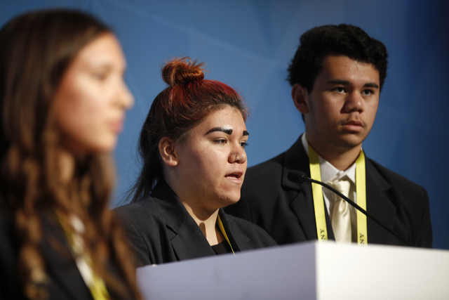 Students Tatiana DeVoux and her brother Taulima DeVoux deliver their business pitch at the Consumer Technology Association Student Business Pitch Competition on Sunday, Jan. 8, 2016, at the Consum ...