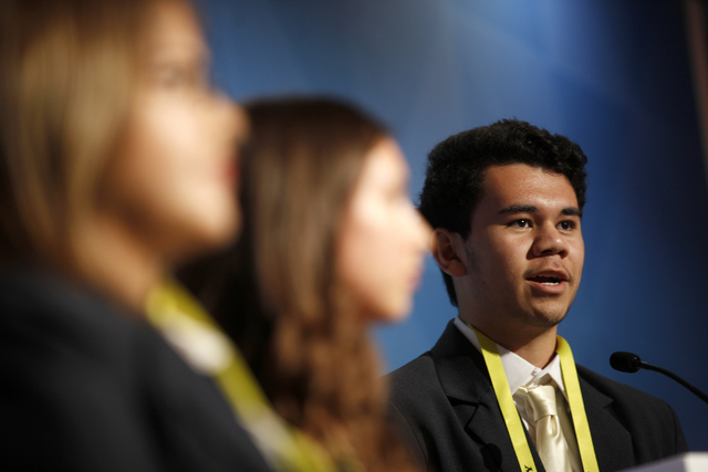 Taulima DeVoux delivers a business pitch at the Consumer Technology Association Student Business Pitch Competition on Sunday, Jan. 8, 2016, at the Consumer Electronics Show at the Las Vegas Conven ...