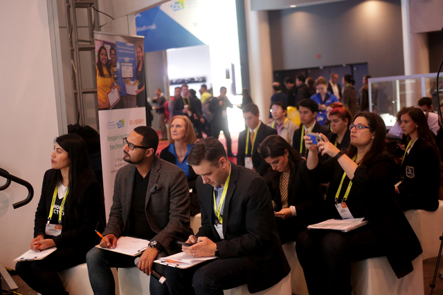 The crowd listens to students deliver their business pitches at the Consumer Technology Association Student Business Pitch Competition on Sunday, Jan. 8, 2016, at the Consumer Electronics Show at  ...