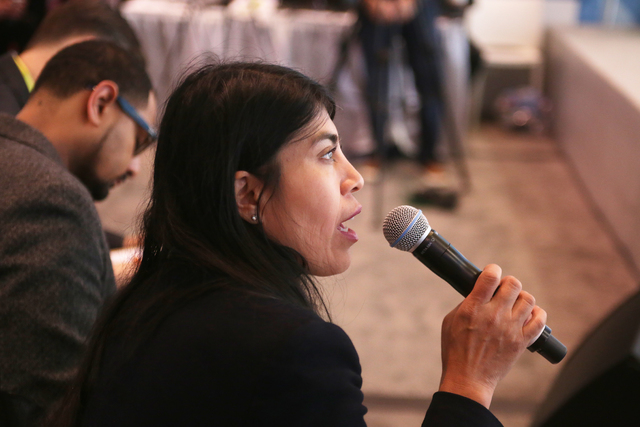 Judge Ximena Hartsock asks a student a question after they delivered a business pitch at the Consumer Technology Association Student Business Pitch Competition on Sunday, Jan. 8, 2016, at the Cons ...