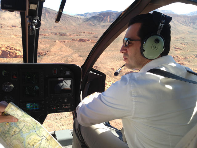 Newly sworn-in Rep. Ruben Kihuen, D-Nev., tours Gold Butte National Monument by helicopter on Wednesday, Jan. 18, 2017, during a trip sponsored by the nonprofit Nevada Conservation League. (Henry  ...