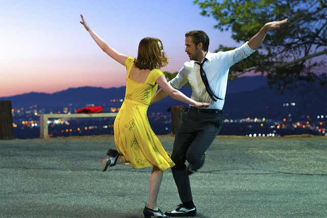 """Ryan Gosling and Emma Stone dance in """"La La Land,"""" which was nominated for 14 Oscars on Tuesday morning, Jan. 24, 2017. (Dale Robinette/Lionsgate via AP)"""