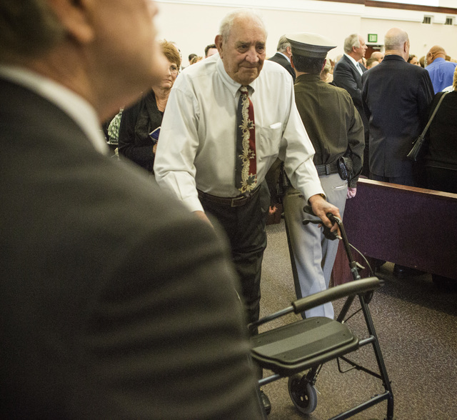 Darwin Lamb exits The Church of Jesus Christ of Latter-day Saints, 10550 W. Alta Drive after the funeral of his brother ex-Clark County Sheriff Ralph Lamb on Friday, July 10, 2015. (Jeff Scheid/La ...