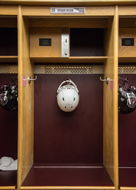 Richard Nelson's football locker at Missouri State University in Springfield on Tuesday, Jan. 17, 2016. The former Chaparral High School football star was fatally shot after intervening in a fight ...
