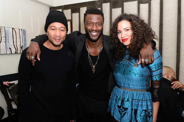 "John Legend, Aldis Hodge and Jurnee Smollett-Bell pose for a photo while attending WGN America's ""Underground"" Season Two Party, hosted by Legend, during the Sundance Film Festiv ..."