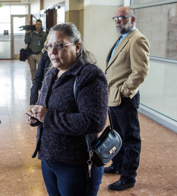 Michelle Ravell, a supporter of Kirstin Lobato, stands in the hallway at the Regional Justice Center on Wednesday Jan. 4, 2017, after Lobato made a court appearance. Jeff Scheid/Las Vegas Review-J ...