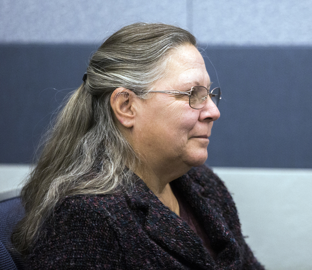 Michelle Ravell, a supporter of Kirstin Lobato, listens during a court hearing Wednesday Jan. 4, 2017, at the Regional Justice Center. Jeff Scheid/Las Vegas Review-Journal Follow @jeffscheid