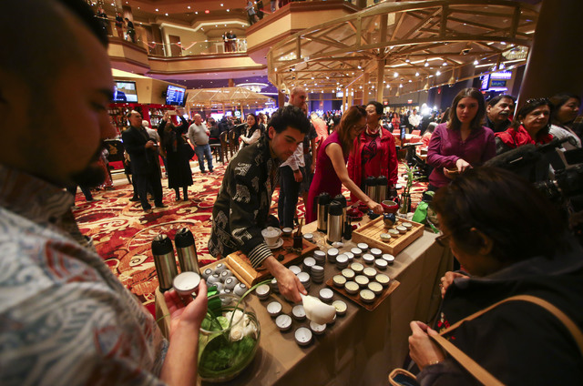 Tea is served during the grand opening of the Lucky Dragon hotel-casino in Las Vegas on Saturday, Dec. 3, 2016. (Chase Stevens/Las Vegas Review-Journal) @csstevensphoto