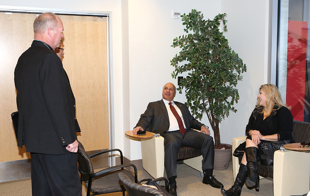 Las Vegas City Ward 2 Councilman Bob Beers, left, Ward 4 Councilman Stavros Anthony, center, and former Nevada Assemblywoman Michele Fiore chat at Las Vegas City Hall prior to filing their paperwo ...