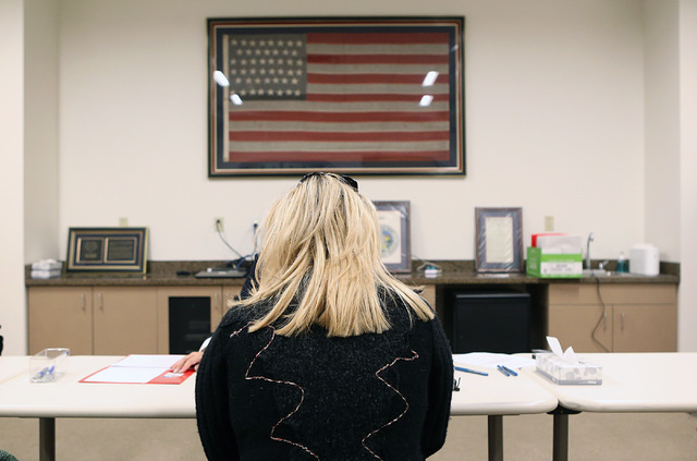 Former Nevada Assemblywoman Michele Fiore files her paperwork to run for Las Vegas City Council representing Ward 6 on Tuesday, Jan. 24, 2017, at the clerk's office at Las Vegas City Hall. (Bizuay ...