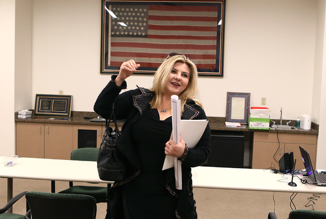 Former Nevada Assemblywoman Michele Fiore leaves the clerk's office after filing her paperwork to run for Las Vegas City Council to represent Ward 6 on Tuesday, Jan. 24, 2017, at Las Vegas City Ha ...