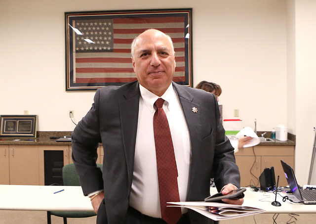 Councilman Stavros Anthony leaves the clerk's office after filing his paperwork to run for Las Vegas City Council representing Ward 4 on Tuesday, Jan. 24, 2017, at Las Vegas City Hall. (Bizuayehu  ...