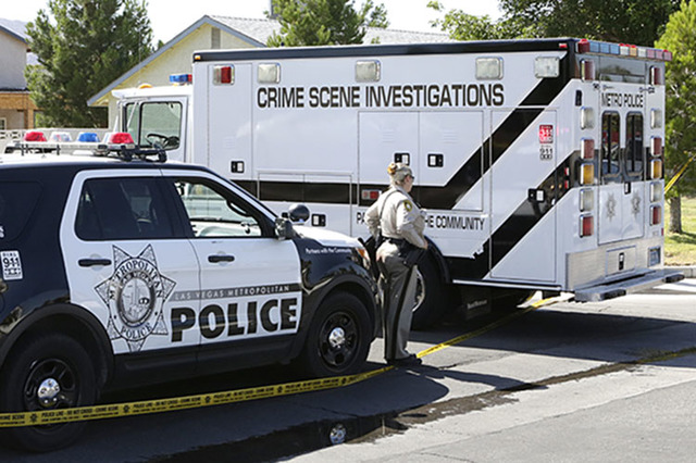 Metro's crime scene investigations truck arrives at the scene of a homicide Monday, June 13, 2016 in northeast Las Vegas, near Nellis and Lake Mead boulevards. (Bizuayehu Tesfaye/Las Vegas Review- ...