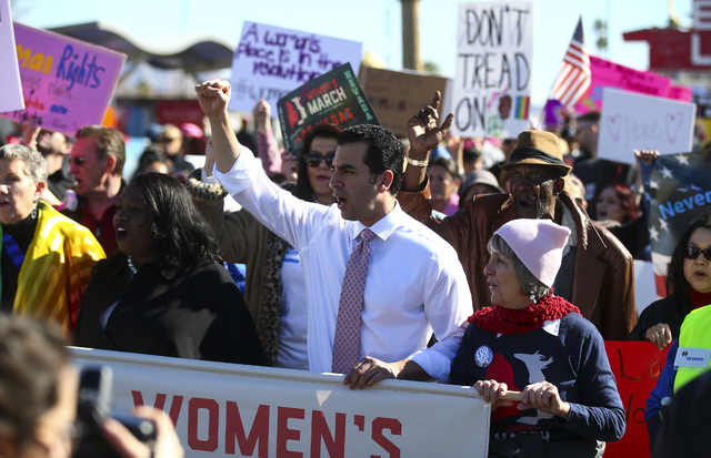 U.S. Rep. Ruben Kihuen, D-Nev., participates in a march along Fremont Street for women's rights in downtown Las Vegas on Saturday, Jan. 21, 2017. (Chase Stevens/Las Vegas Review-Journal) @cssteven ...
