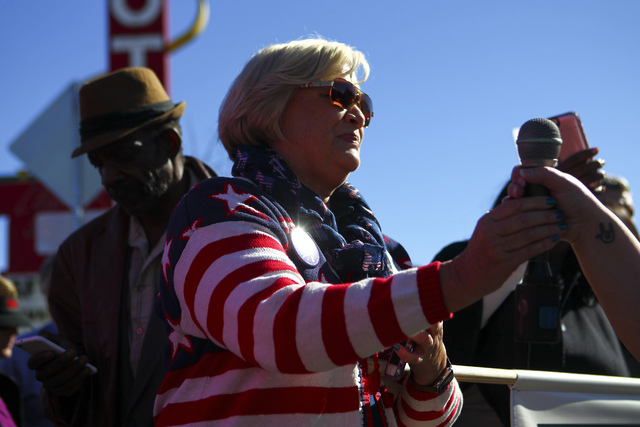 Roberta Lange, chairwoman of the Nevada State Democratic Party, gathers with demonstrators to march for women's rights in downtown Las Vegas on Saturday, Jan. 21, 2017. (Chase Stevens/Las Vegas Re ...