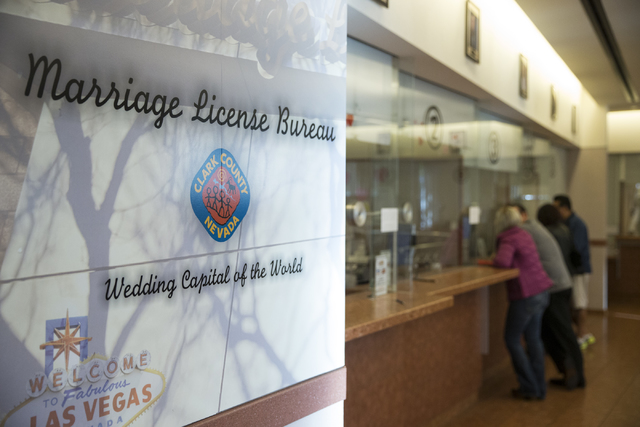 The Clark County Marriage License Bureau on Friday, Jan. 13, 2017, in Las Vegas. Erik Verduzco/Las Vegas Review-Journal Follow @Erik_Verduzco