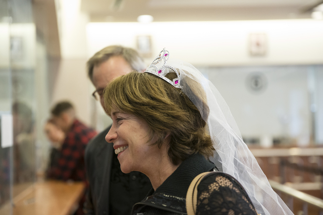 Nancy Fromm with Karl Bode of Phoenix complete their marriage license at the Clark County Marriage License Bureau on Friday, Jan. 13, 2017, in Las Vegas. Erik Verduzco/Las Vegas Review-Journal Fol ...