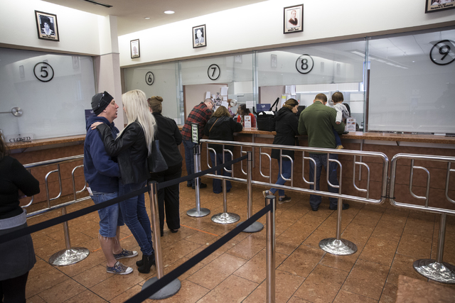 People wait in line at the Clark County Marriage License Bureau on Friday, Jan. 13, 2017, in Las Vegas. Erik Verduzco/Las Vegas Review-Journal Follow @Erik_Verduzco
