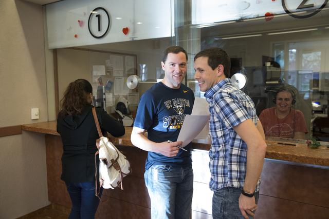Greg Anderson, left, and Chad Swiney of Tennessee after completing their marriage license at the Clark County Marriage License Bureau on Friday, Jan. 13, 2017, in Las Vegas. Erik Verduzco/Las Vega ...