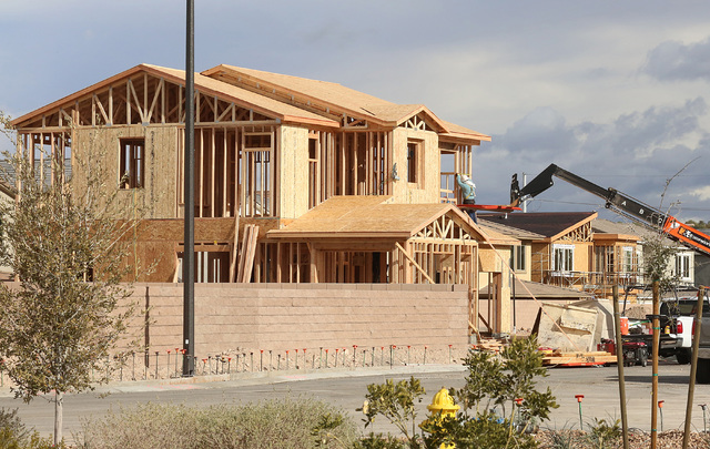 Homes under construction in the Inspirada master-planned community on Calestano Avenue Monday, Jan. 9, 2017, in Henderson. (Bizuayehu Tesfaye/Las Vegas Review-Journal)@bizutesfaye