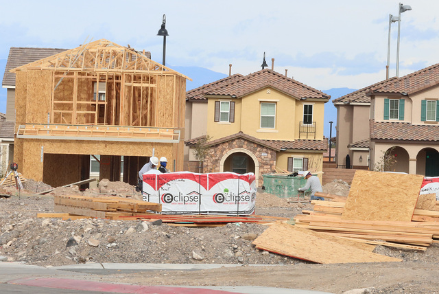 Homes under construction in the Inspirada master-planned community on Via Zoran Monday, Jan. 9, 2017, in Henderson. (Bizuayehu Tesfaye/Las Vegas Review-Journal)@bizutesfaye