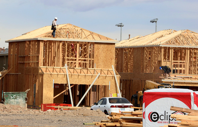 Homes under construction in the Inspirada master-planned community Monday, Jan. 9, 2017, in Henderson. (Bizuayehu Tesfaye/Las Vegas Review-Journal)@bizutesfaye