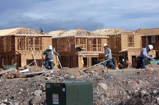 Homes under construction in the Inspirada master-planned community on Monday, Jan. 9, 2017, in Henderson. (Bizuayehu Tesfaye/Las Vegas Review-Journal)@bizutesfaye