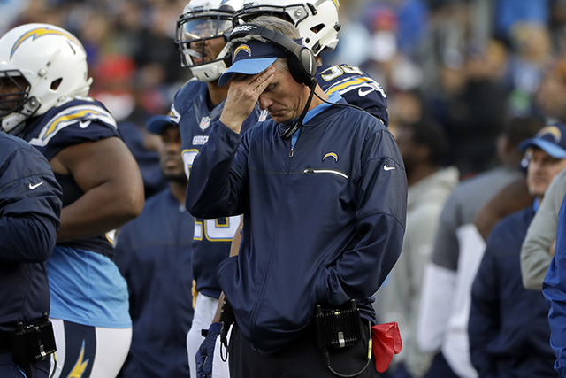 San Diego Chargers head coach Mike McCoy reacts during the second half of an NFL football game against the Kansas City Chiefs, Sunday, Jan. 1, 2017, in San Diego. (Alex Gallardo/AP)