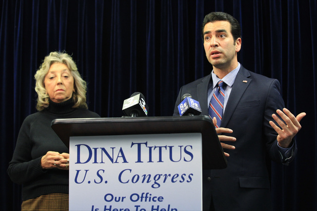 Representatives Dina Titus, D-Nev., left, and Ruben Kihuen, D-Nev., condemn the temporary immigration ban during a press conference at Dina Titus' office on Saturday, Jan. 28, 2017, in Las Vegas.  ...