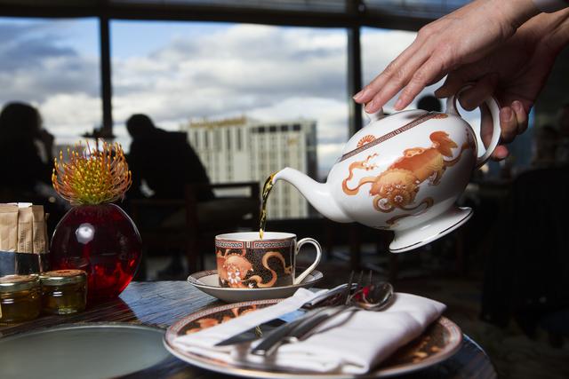 Mandarin orange tea is poured in the Tea Lounge at the Mandarin Oriental hotel in Las Vegas on Thursday, Jan. 19, 2017. (Chase Stevens/Las Vegas Review-Journal) @csstevensphoto