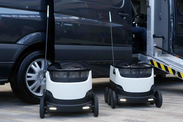 Robots that are used in a demonstration in Downtown Summerlin, Wednesday, Jan. 04, 2017. The demonstration showed how through the collaboration of vans and robots, consumers could receive packages ...