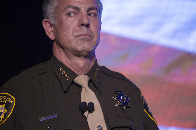 Sheriff Joseph Lombardo looks on as he stands onstage during Metro's fourth annual Best of the Badge Gala held at Red Rock Resort in Las Vegas on July 8, 2016. Richard Brian/Las Vegas Review-Journal