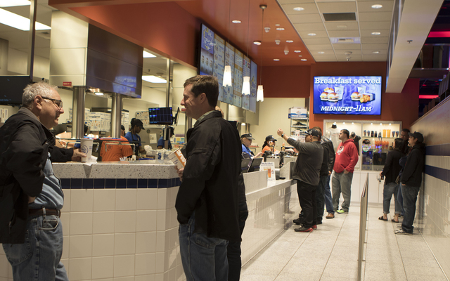 Customers wait for their orders to come up at the Las Vegas Strip White Castle on Wednesday, Jan. 25, 2017. (Heidi Fang/Las Vegas Review-Journal) @HeidiFang