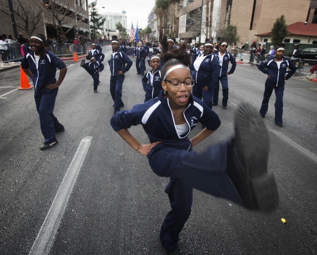 West Prep student Donnena Mayfield performs Monday, January 19 2015 during the 33rd Annual Dr. Martin Luther King Jr. Parade in Downtown Las Vegas. (Jeff Scheid/Las Vegas Review-Journal)