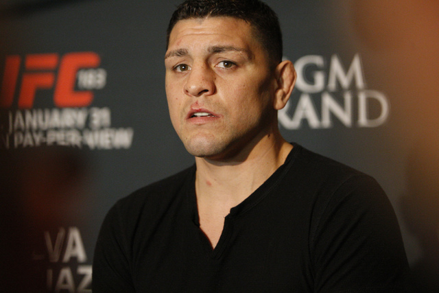 Nick Diaz is interviewed during media day for the upcoming Ultimate Fighting Championship 183 at the MGM Grand casino-hotel in Las Vegas Thursday, Jan. 29, 2015. Diaz is scheduled to fight Anderso ...