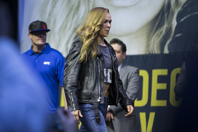 Ronda Rousey attends the ceremonial UFC 207 weigh-in at T-Mobile Arena on Thursday, Dec. 29, 2016, in Las Vegas. Rousey will fight Amanda Nunes Saturday for the bantamweight title. (Erik Verduzco/ ...