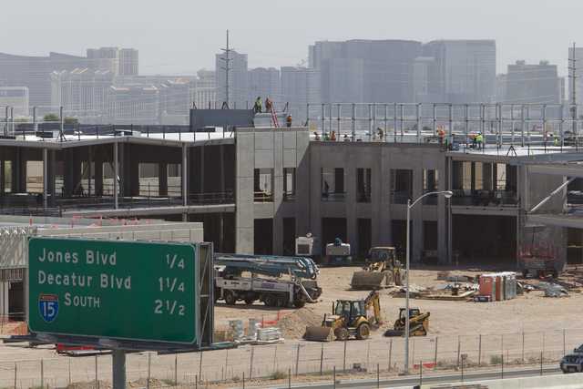 Construction continues on the new UFC headquarters at 6650 S. Torrey Pines Drive in Las Vegas on Monday, July 7, 2016. Hollywood powerhouse WME-IMG has acquired the world's largest mixed martial a ...