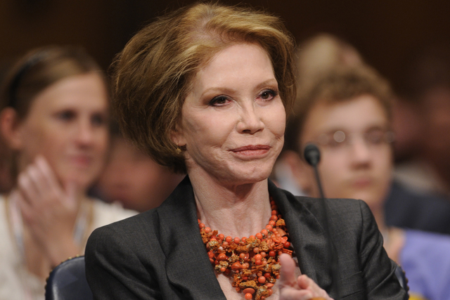 This June 24, 2009, file photo shows actress Mary Tyler Moore before the Senate Homeland Security and Governmental Affairs Committee hearing on Type 1 Diabetes Research on Capitol Hill in Washingt ...