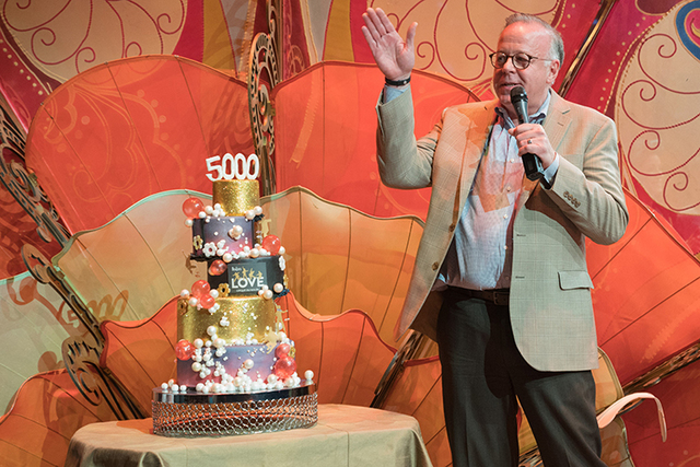 "Cirque du Soleil senior executive Jerry Nadal celebrates the 5,000th performance of ""The Beatles Love"" at The Mirage in Las Vegas. (Cirque du Soleil)"