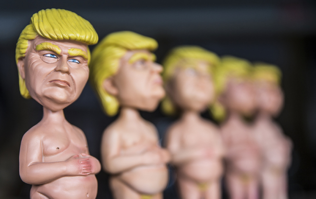 Artist Joshua Monroe is the creator of the Naked Trump statue and has paired up with Las Vegas investor Richard Schwartz to produce a line of replica bobbleheads. Photo taken Thursday, Jan. 5, 201 ...