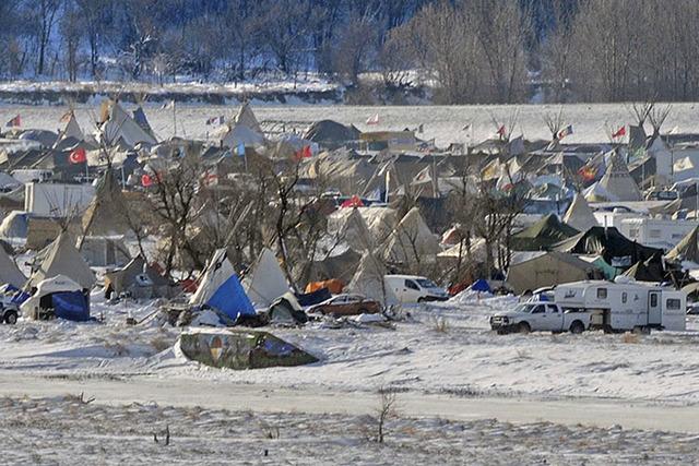 The pipeline protest camp near Cannon Ball, North Dakota, seen in December. (The Bismarck Tribune via AP)