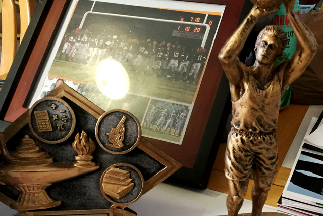 Trophies that belonged to Richard Nelson at his home on Sunday, Jan. 15, 2017, in Las Vegas. (Sandy Lopez/Las Vegas Review-Journal) @JournalismSandy