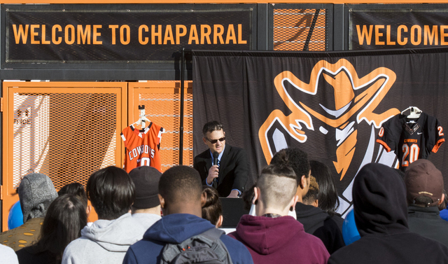 Assistant Principal and Athletic Administrator of Chaparral High School Xavier Antheaume speaks during a memorial service for Richard Nelson at Chaparral High School in Las Vegas on Thursday, Jan. ...