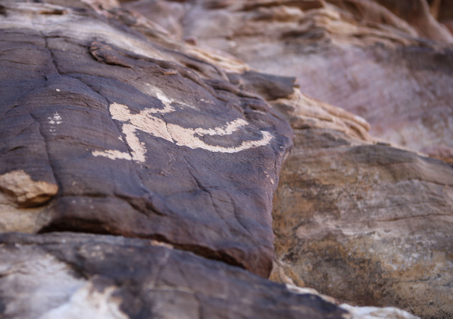 The hanging man petroglyph at Gold Butte National Monument on Tuesday, Jan. 17, 2017, in Gold Butte, Nevada. (Christian K. Lee/Las Vegas Review-Journal) @chrisklee_jpeg